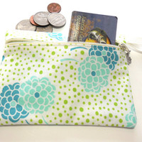 Change Purse, Blue and Teal Floral Print Cosmetic storage pouch, Floral Makeup Bag, Zipped Cosmetic Bag