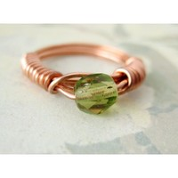 Olive Vine - Czech Faceted Glass Bead - Copper Wrapped Ring - Size 5