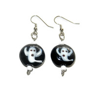 Black and White Ghost Lampwork Dangle Earrings, Halloween Earrings