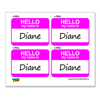 Diane Hello My Name Is - Sheet of 4 Stickers