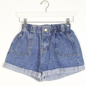 Vintage Denim Shorts High Waisted Shorts 1980s Elastic Paper Bag Waist Cuffed Jean Shorts 80s High Cut Mom Jeans Shorts XS S Small M Medium