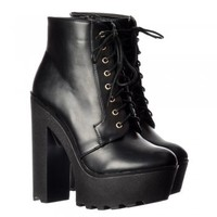 Onlineshoe Chunky Cleated Sole Platform High Heel Lace Up Ankle Boots - Black PU - Onlineshoe from Onlineshoe UK
