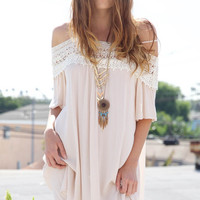 Lovely Bohemian Lace Off Shoulder Dress - Cream