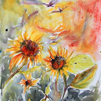 Expressive Sunflowers Large Watercolor and Ink Painting by Ginette