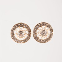 Rhinestone Cutout Post Earrings