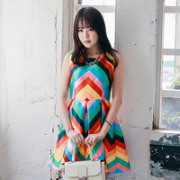 Rainbow Colored Midi Dress