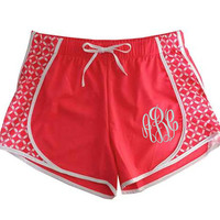 Monogram Women's Running Shorts Coral with Print Sides  Font shown MASTER CIRCLE in white