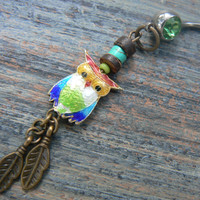 owl cloisonne  belly ring  green belly owl jewelry in beach boho gypsy hippie belly dancer  fantasy beach hipster and fantasy style
