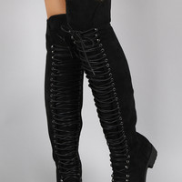 Lace Up Faux Suede Over The Knee Boot