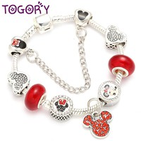 TOGORY Red Crystal Beads Charm Bracelets & Bangles Silver Color Mickey Minnie Pandora Bracelets For Women Kids Girl DIY Jewelry
