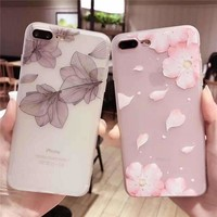 Cherry Petals 3D Relief Silicone Case For Iphone X 7 7Plus Lace Leaves Tpu Case For Iphone 6 6S 8
