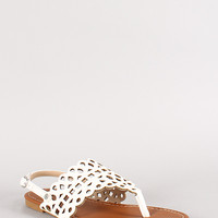 Sunny Feet Sequoia-46 Cut Out Slingback Flat Sandal