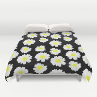 Flowering On Black Duvet Cover by Ornaart