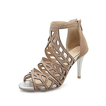 Women's High Heel Fish Mouth Hollowed-out Stiletto Heel Gladiator Sandals