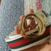 Gucci Belt Red and Green Stripe 34-36 inches
