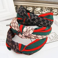 Gucci Women Accessory Red And Green Striped Letters Fabric Hair Card Hair Bands