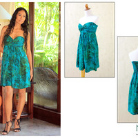 Unique Batik Patterned Strapless Dress - Java Emerald | NOVICA