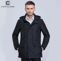New men spring jacket and coat stand collar business slim unique multi-pocket for male thin cotton