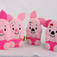 New arrival 3d cute cartoon pig design lovely Piglet case soft silicone rubber cover for iPhone 4 4s 5 5s 6 6s 4.7/5.5 inch plus