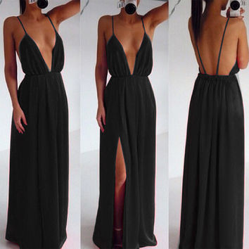 Fashion Sexy Women Strap V Neck Backless Summer Maxi Party Cocktail Evening Dress AP = 4765096068
