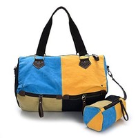 Vere Gloria Woman Fashion Multicolor Mosaic Canvas Messenger Bag Outdoor Shopping Shoulder Bags Double Colors Splice with a Small Bag