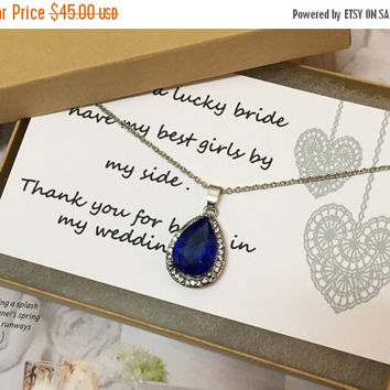 Bridesmaid necklace, Wedding jewelry, bridesmaid jewelry,vintage inspired teardrop Royal blue crystal jewelry with bridesmaid thank you card