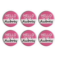 Aubrey Hello My Name Is Plastic Resin Button Set of 6