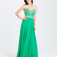 Madison James 16-394 In Stock Green SZ 14 Jeweled Chiffon Prom Dress Evening Gown