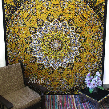 Large Hippie Tapestry, Queen Psychedelic Tapestry, Star Tapestry, Indian Mandala Hippie Tapestry, Hippie Boho Throw Bedcover Home Decor