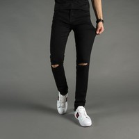 High Street Fashion Mens Jeans Black Color Denim Knee Hole Ripped Jeans Men  Brand Skinny Fit Stretch Ankle Zipper Jeans