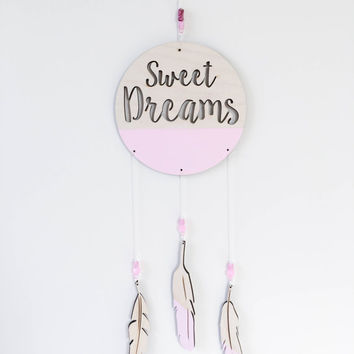 Sweet Dreams Dream Catcher with feathers and beads laser cut Sweet Dreams Mobile Painted wooden feathers children's  baby nursery wall decor