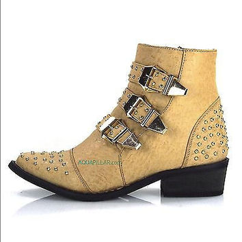 Arly Camel Ostrich Western Flat Ankle Boots w/ 3 Strap & Metal Studded Detail