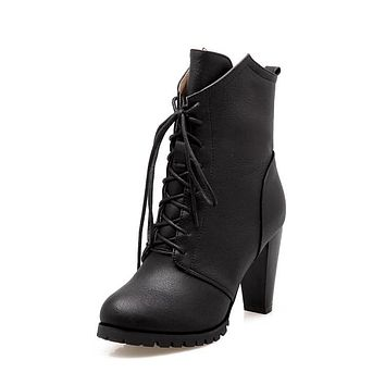 Lace Up Women High Heels Thick Heeled Ankle Boots 9492
