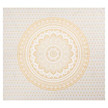 Printed Tapestry, Gold/White