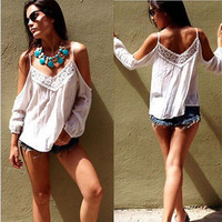 New Sexy Women Casual Boho Lace Off Shoulder Shirt Summer Crop Tank Tops Blouse