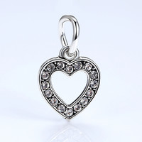 Quality Silver Plated Heart Charm European Charms Fit Pandora Bracelet Bangles DIY Accessories A5294