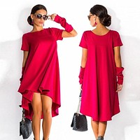 Irregular O-neck Short Sleeve Knee-length Dress