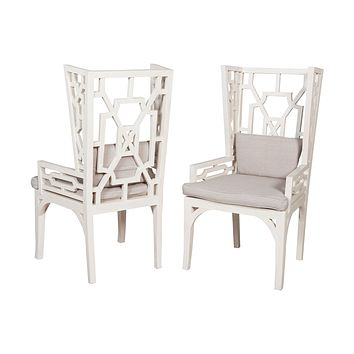 Manor Wing Chairs with Cushions (Set of 2)