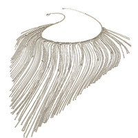 FOREVER 21 Fringed Chain Statement Necklace Silver/Clear One