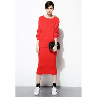 Sporty Wool Knit Dress Set - FEW MODA