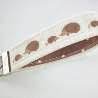 Key FOB / KeyChain / Wristlet  - soft - brown hedgehogs dots - coworker gift mothers day under 10