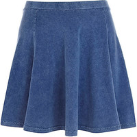 River Island Womens Blue denim-look skater skirt