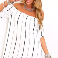White Stripe Off-shoulder Sleeve Dress Shirt