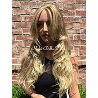 Helen Mixed Blonde Human Hair Blend Multi Parting Lace Front Wig
