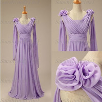 Custom A-line Sleeveless Floor-length Chiffon Flowers Long Bridesmaid Dresses Prom Dresses Evening Dresses 2014 New Arrival