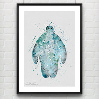 Baymax Disney Watercolor Art Print, Big Hero 6 Watercolor Poster, Boy's Room Wall Art, Kids Decor, Not Framed, Buy 2 Get 1 Free! [No. 25]