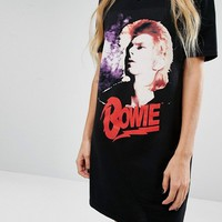 Reclaimed Vintage T-Shirt Dress With Bowie Print at asos.com
