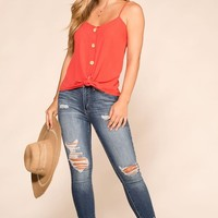 Paige Coral Button Tank Top