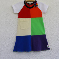 Rainbow Dress Girl's Size 4 made from Upcycled T Shirts, Recycled T Shirt Child's Rainbow Dress, Child's Raglan Sleeve Rainbow  Dress