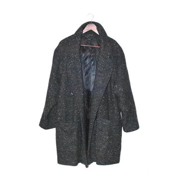 speckled grey coat vintage long grey wool cocoon coat 80s minimalist mens wear double breasted winter jacket os